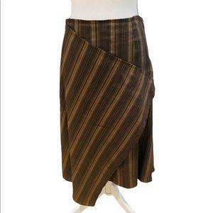 Designer Sarah Pacini midi neutral stripe skirt